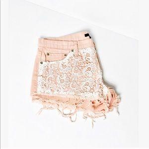 F21 Blush Pink Lace High Waist Raw Hem Denim Short